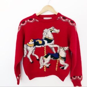 Vintage Chunky Carousel Horse Red Gusto Sweater